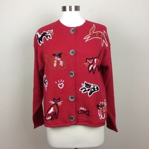 Northern Isles red embroidered cat cardigan